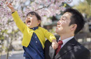お宮参りで桜を見る父親と娘