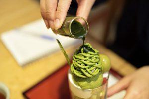 抹茶パフェのクローズアップ写真