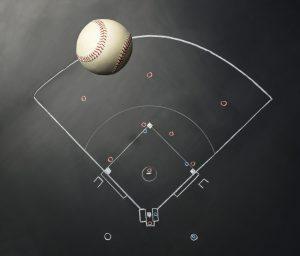 黒板に描いた野球の全体図と野球ボール